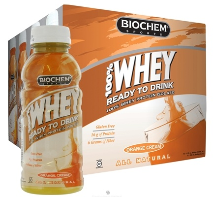 DROPPED: Biochem by Country Life - 100% Whey Protein Isolate RTD All Natural Orange Cream - 12 oz.