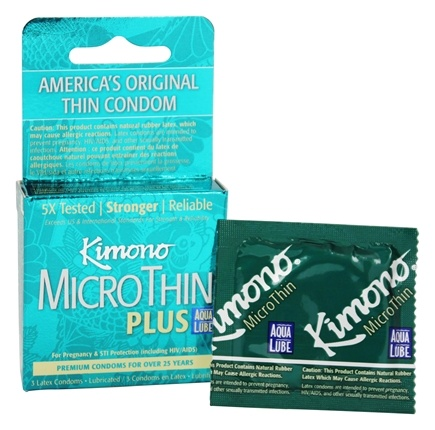 Mayer Laboratories - Kimono MicroThin Plus Lubricated Latex Condom Ultra Lubricated with Aqua Lube - 3 Pack(s)