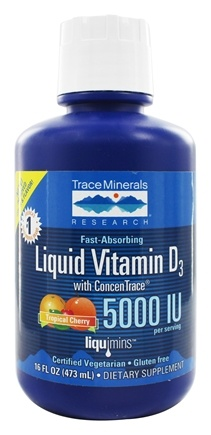 Trace Minerals Research - Liquid Vitamin D3 with ConcenTrace Tropical Cherry 5000 IU - 16 oz.