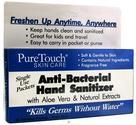 DROPPED: Pure Touch Skin Care - Anti-Bacterial Hand Sanitizer Individual Single Use Packets - 21 Packet(s) CLEARANCE PRICED