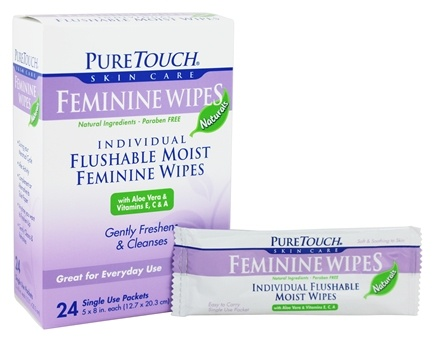 Pure Touch Skin Care - Individual Flushable Moist Feminine Wipes - 24 Packet(s)