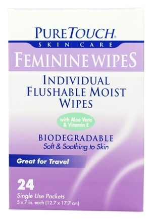 Pure Touch Skin Care - Individual Flushable Moist Feminine Wipes Biodegradable - 24 Packet(s)