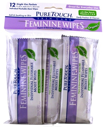DROPPED: Pure Touch Skin Care - Individual Flushable Moist Feminine Wipes Organic - 12 Packet(s) CLEARANCE PRICED