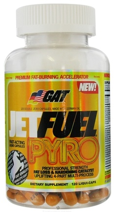 DROPPED: GAT - JetFuel Pyro Premium Fat-Burning Accelerator Professional Strength - 120 Capsules German American Technologies CLEARANCE PRICED