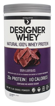 Designer Protein - Designer Whey Natural 100% Whey Protein Double Chocolate - 2 lbs.