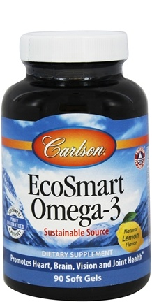 DROPPED: Carlson Labs - Norwegian EcoSmart Omega-3 Lemon Flavored 500 mg. - 90 Softgels Formerly CalaOmega High DHA Omega-3 From Calamari 1000 mg. CLEARANCE PRICED