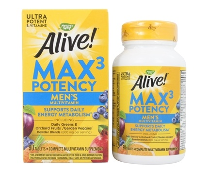 Nature's Way - Alive Men's Multi Max Potency - 90 Tablets (formerly Men's Multi Vitamin & Mineral Whole Food Energizer)