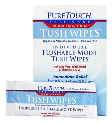Pure Touch Skin Care - Individual Flushable Moist Tush Wipes Medicated - 24 Packet(s)