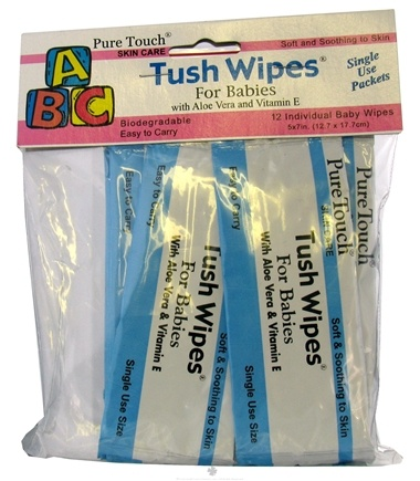 DROPPED: Pure Touch Skin Care - Individual Biodegradable Tush Wipes For Babies - 12 Packet(s) CLEARANCE PRICED