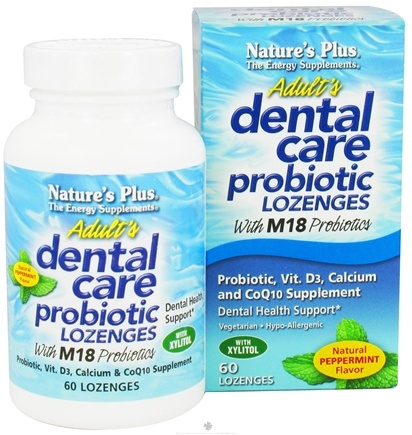 DROPPED: Nature's Plus - Dental Care Probiotic Lozenges Peppermint - 60 Lozenges CLEARANCE PRICED