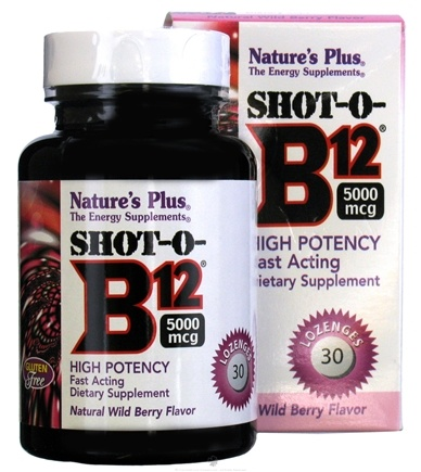 DROPPED: Nature's Plus - Shot-O-B12 5000 mcg Wild Berry - 30 Lozenges CLEARANCE PRICED