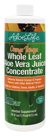 DROPPED: Aloe Life - Whole Leaf Aloe Vera Juice Concentrate Orange Papaya - 16 oz. CLEARANCE PRICED