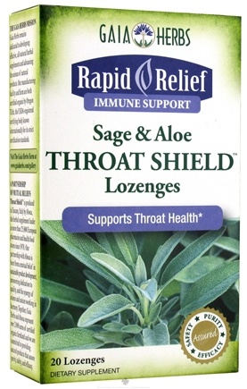 DROPPED: Gaia Herbs - Rapid Relief Immune Support Sage & Aloe Throat Shield - 20 Lozenges CLEARANCE PRICED