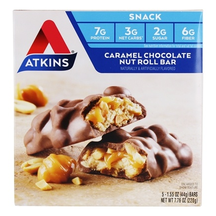 Atkins Nutritionals Inc. - Advantage Snack Bar Caramel Chocolate Nut Roll - 5 Bars