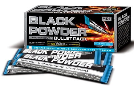 DROPPED: MRI: Medical Research Institute - Black Powder Pre Workout Bullet Pack Blue Raspberry - 5 Pack(s) CLEARANCE PRICED