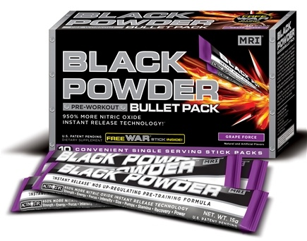 DROPPED: MRI: Medical Research Institute - Black Powder Pre Workout Bullet Pack Grape Force - 10 Pack(s)