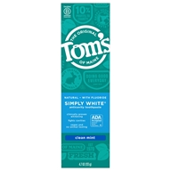 Tom's of Maine - Natural Toothpaste Simply White With Fluoride Clean Mint - 4.7 oz.