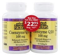 Natural Factors - Coenzyme Q10 100 mg. (60 + 60) Softgels Twin Pack Special