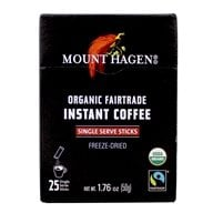 Mount Hagen - Organic Instant Coffee Freeze Dried 25 Single Serve Packets - 1.76 oz.