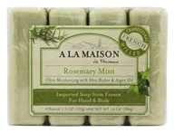 A La Maison - Traditional French Milled Bar Soap Value Pack Rosemary Mint - 4 x 3.5 oz. Bars