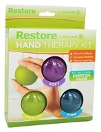 Gaiam - Restore Hand Therapy Kit - 3 Color-Coded Therapy Balls