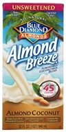 Blue Diamond Growers - Breeze Almond Milk Unsweetened Almond Coconut - 32 oz.