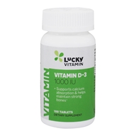 LuckyVitamin - Vitamin D-3 1000 IU - 100 Tablets