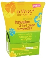 Alba Botanica - Hawaiian 3-In-1 Clean Towelettes Pineapple Enzyme - 30 Towelette(s)
