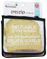 Blue Avocado - (Re)Zip Lunch Reusable Storage Bags Black Solid - 2 Pack