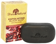 Shea Natural - Exfoliating Black Soap with Shea Butter Midnight Pomegranate - 5 oz.