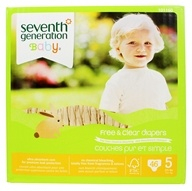 Seventh Generation - Free and Clear Baby Diapers Stage 5 (27+ lbs.) - 46 Diaper(s)