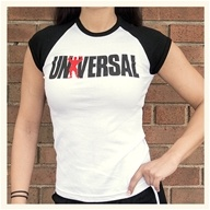 Universal Nutrition - Universal Ladies White/Black Baby Tee Small (S)