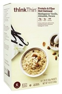 Think Products - thinkThin Protein and Fiber Hot Oatmeal Madagascar Vanilla with Almonds and Pecans - 6 Packet(s)
