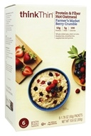Think Products - thinkThin Protein and Fiber Hot Oatmeal Farmer's Market Berry Crumble - 6 Packet(s)