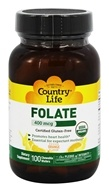 Country Life - Folate Orange Flavor 400 mcg. - 100 Chewable Wafers