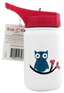 Eco Vessel - Scout Kids Stainless Steel Water Bottle with Flip Straw White Owl - 13 oz.