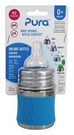 Pura - Stainless Steel Infant Bottle with Slow Flow Nipple Aqua Blue - 5 oz.