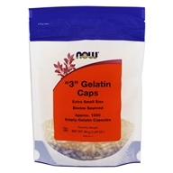 """NOW Foods - Gelatin Empty Capsules """"3"""" Size (Extra Small Size) - 1000 Gelcaps"""