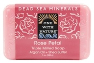 One With Nature - Dead Sea Mineral Bar Soap Mild Exfoliating Rose Petal - 7 oz.