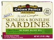 Crown Prince Natural - Skinless and Boneless Sardines in Pure Olive Oil - 3.75 oz.