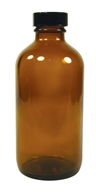 Frontier Natural Products - Amber Glass Round Bottle with Black Cap - 8 oz.